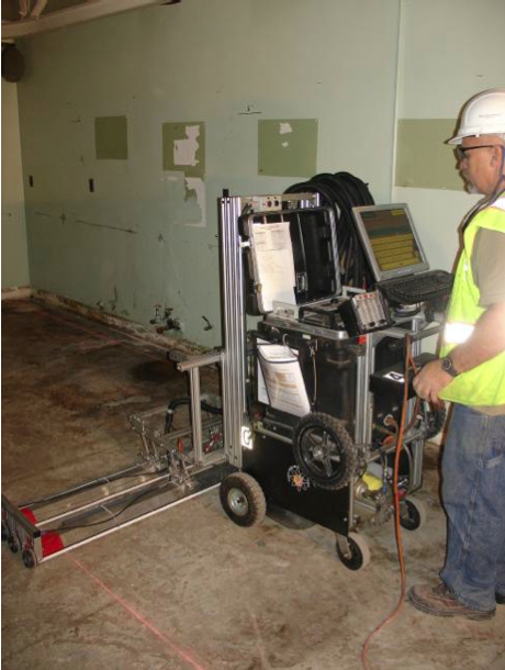 Radiological scanning equipment being used in another building at Alameda Point.