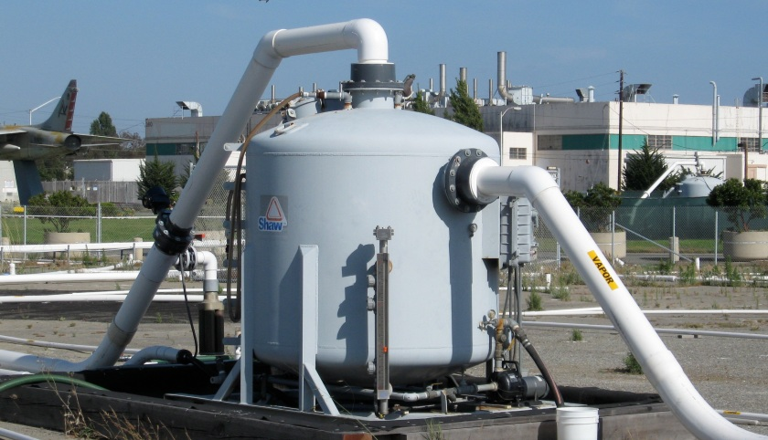 Vapor extraction system that operated for several years to clean up jet fuel in the ground on Site 3.