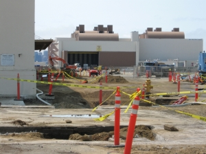 2009 removal of radium-226-contaminated storm drains next to Building 400.  West Tower Avenue is to the right.  Looking west.