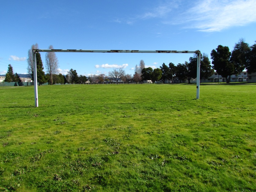 Estuary Park soccer field.  Looking east.  Alameda Landing and new Target store is past the tree line in the distance.
