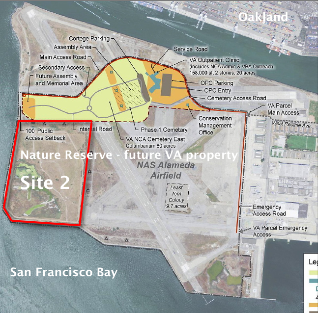 VA map, with Site 2 and Nature Reserve notations added by Alameda Point Environmental Report.