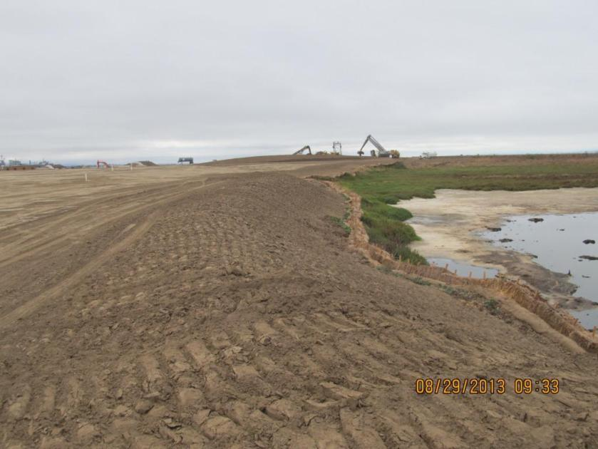 Interim stormwater controls - tracked slope.