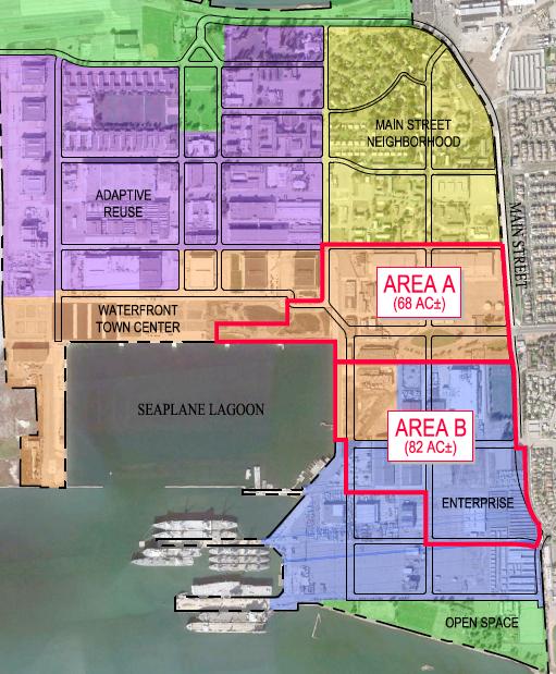 Area A, Area B - development areas