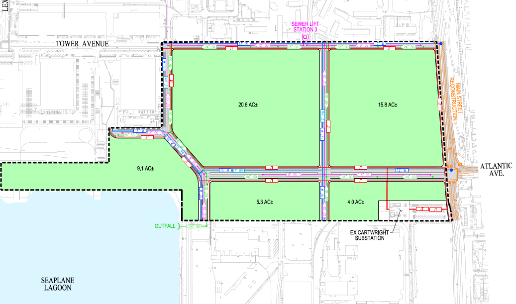 Area A new street grid.  See legend below.  Click on image to enlarge.