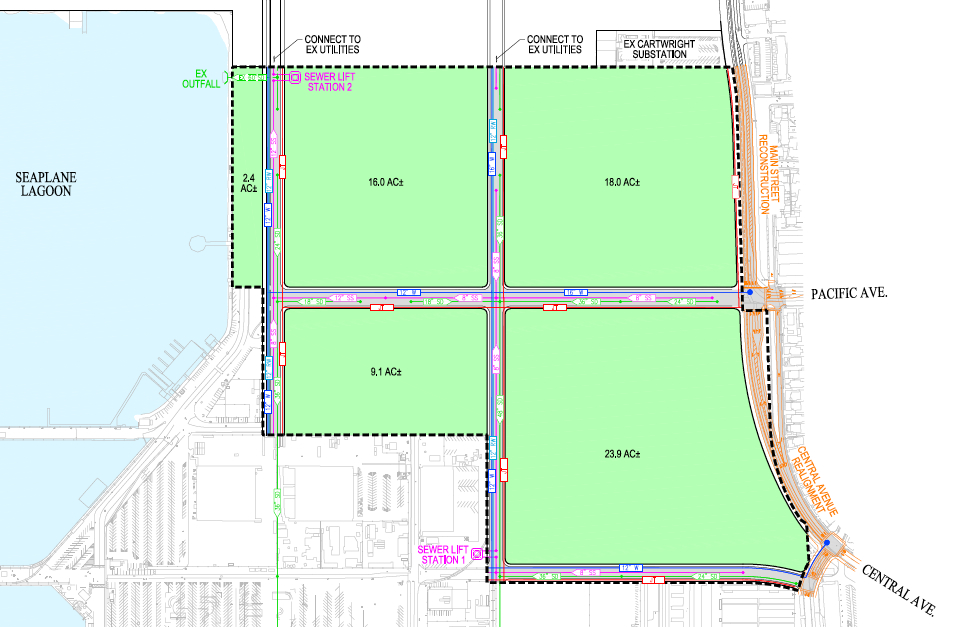 Proposed development Area B street grid.  See legend below.