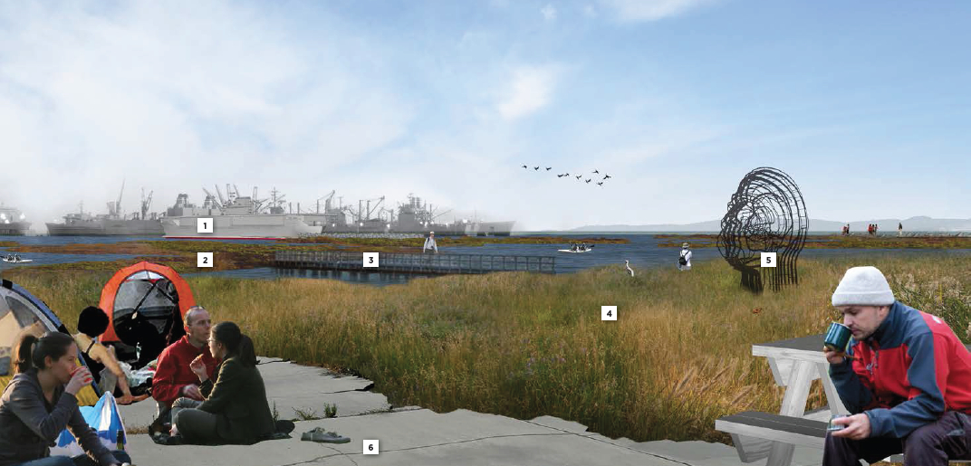 """Looking toward the Seaplane Lagoon in conceptual drawing for De-Pave Park.  No drawings are offered to inform viewers that directly behind this vantage point are old industrial buildings that will be allowed to stay """"if needed.""""  There is currently no plan to remove the industrial buildings."""