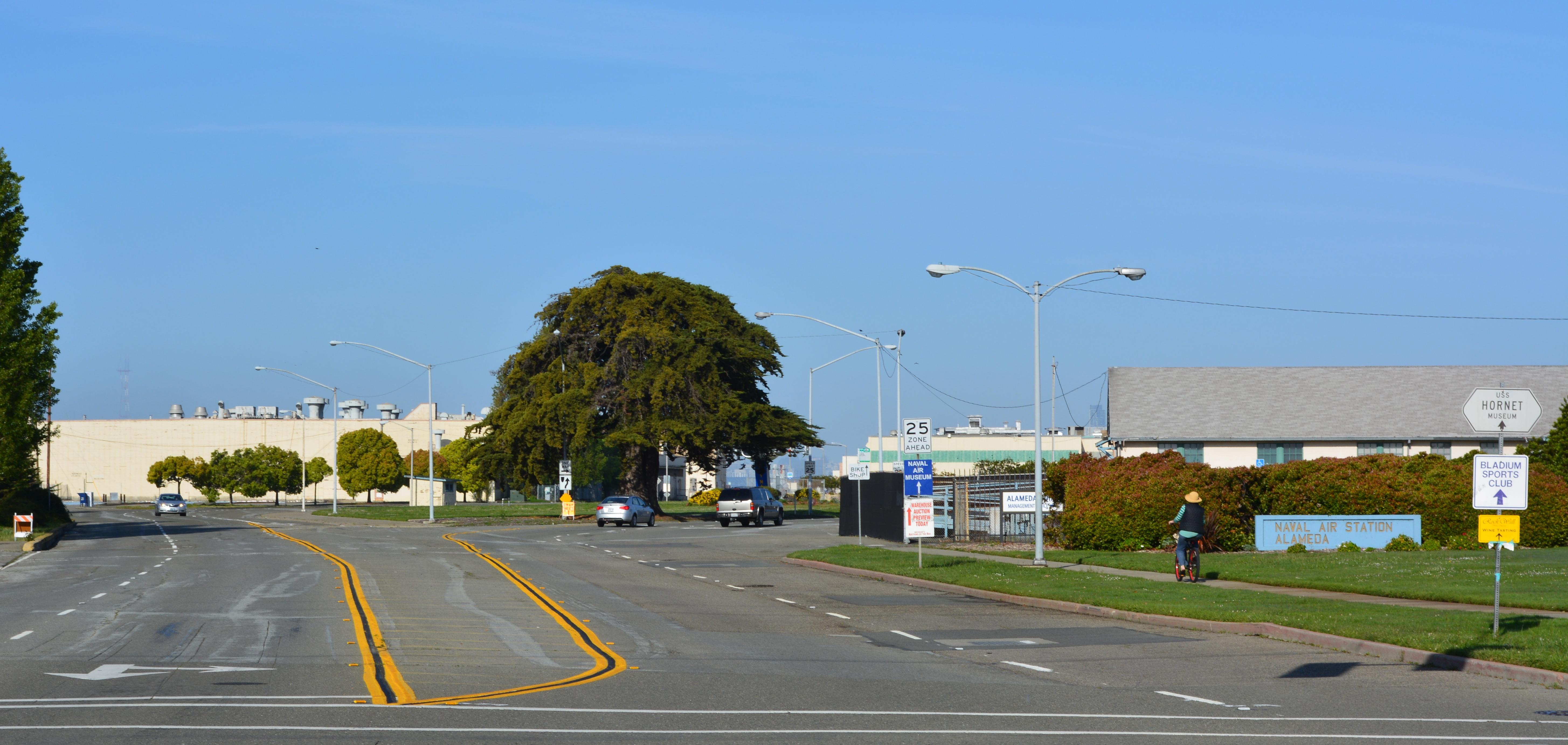 West Atlantic Avenue on Alameda Point, looking west toward San Francisco.