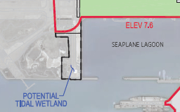"""Red line indicates levee that will protect """"Building 25."""""""