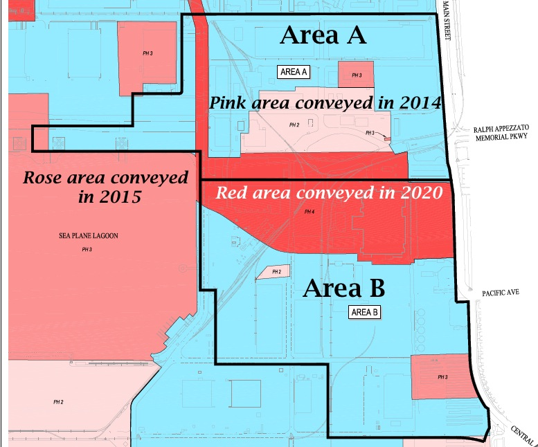 Proposed development areas A and B outlined on Navy land conveyance schedule map.