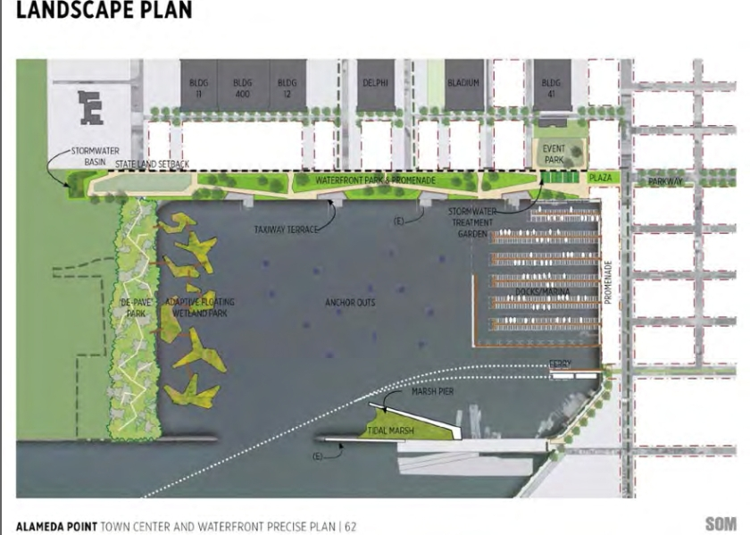 Landscape plan from 2013 showing no buildings on west (left) side of Seaplane Lagoon.  Buildings are now being recommended to stay.  Floating wetlands are a very long-range option if funding is available.