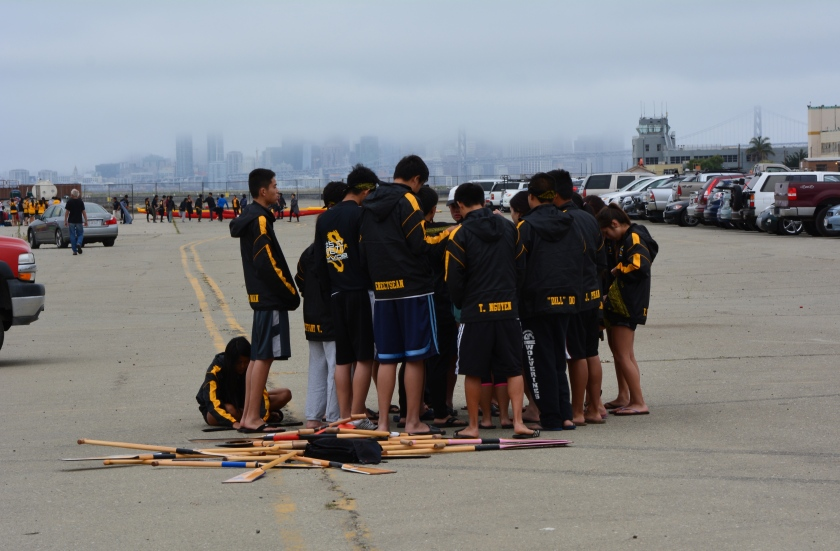 Dragon boat team at Seaplane Lagoon, Alameda Point