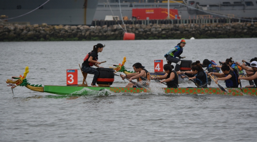 Dragon boats racing at Seaplane Lagoon, Alameda Point