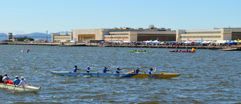 Outrigger canoes at Alameda Point