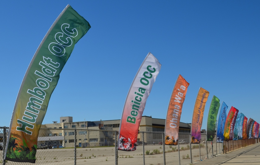 Outrigger canoe team banners at Alameda Point