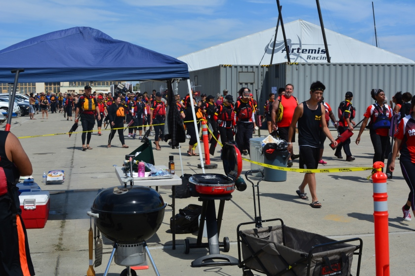 Dragon boaters returning to staging areas after race