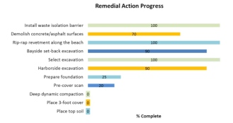 Remedial action progress graph. Navy graph.