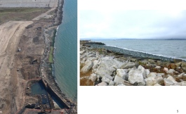 Right photo shows crushed rock installed at shoreline beyond the riprap boulders. Navy photos.