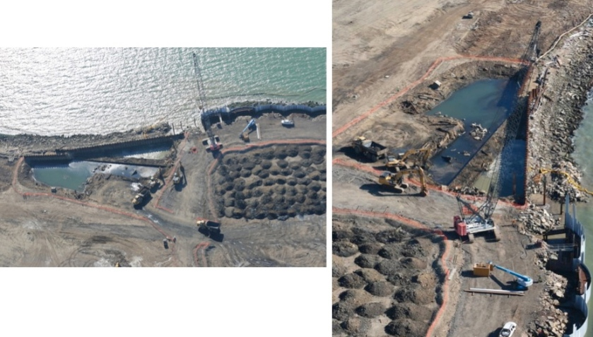 Northwest corner of Alameda Point:  Pit with water is where the Navy excavated burn waste material.  The soil is shown in small piles, which will be spread out on the area behind the metal retaining wall before the three-foot soil cover is put in place.  Navy photos.