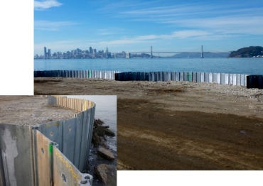 Completed Waste Isolation Barrier with close-up of interlocking piles. Navy photos.