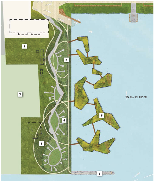 Landscape Plan for west side of Seaplane Lagoon adopted in July 2014 showing buildings  (dashed lines) remaining.  Building 25 is at upper left in light-colored area.