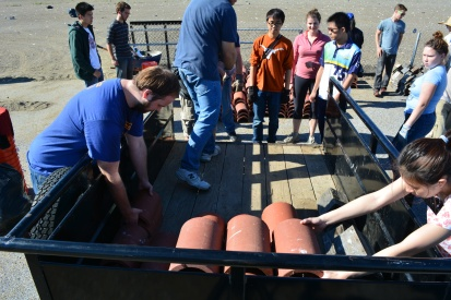Tau Beta Pi students from UC Berkeley unloading drain tile shelters outside of tern nesting area during November 2014 work party.