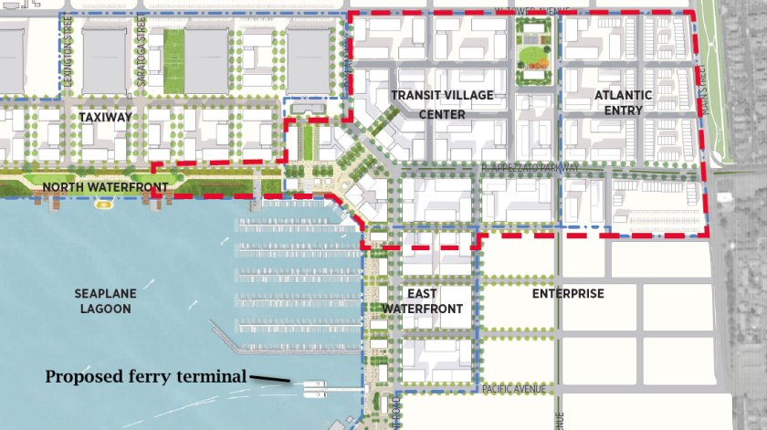 Note that the developer proposal makes modifications to the precise plan adopted by the city in July 2014 (partial view shown above).  Developer will construct new ferry terminal in Seaplane Lagoon near Site A.  The Water Emergency Transportation Authority has not yet completed their study of moving the Main Street ferry terminal to the Seaplane Lagoon.