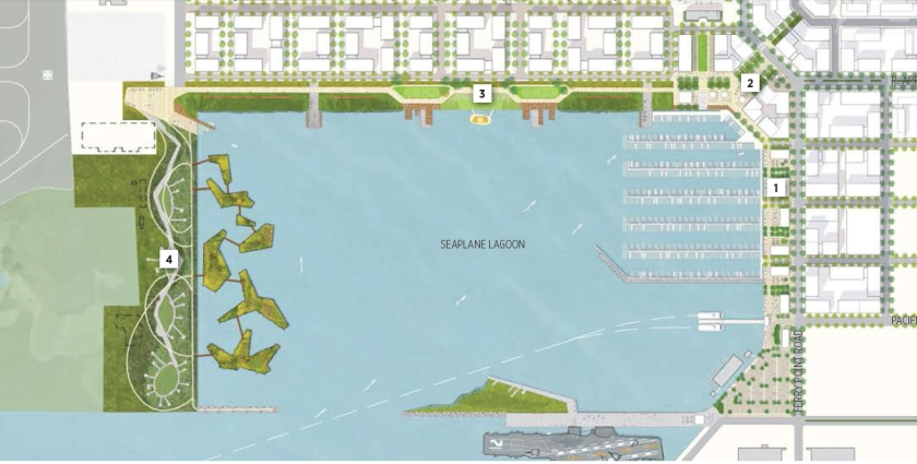 Waterfront plan showing proposed natural park on west side (left) of Seaplane Lagoon.