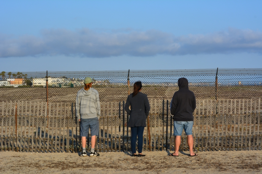 Visitors to Huntington Beach viewing the least tern nesting activity on Memorial Day weekend 2015.