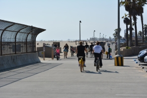 Huntington Beach Bike Trail at the bridge over the Talbert Channel.