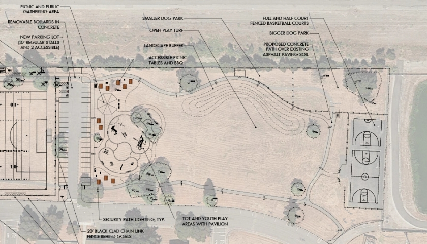 Close-up of community park section of Estuary Park, with dog park located in upper portion.