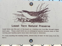 Sign on fence at Huntington Beach Least Tern Natural Preserve urging people to stay 15 feet away.