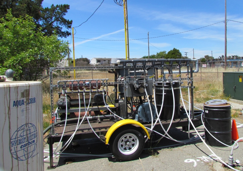 Air injection and vapor extraction system operating at former commissary gas station site in May 2013. Charcoal tank to capture vapors is at left.