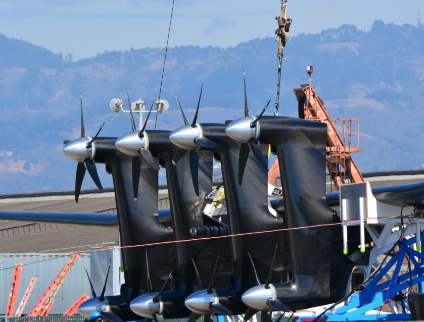 Makani energy kite on transport trailer at Alameda Point test site.