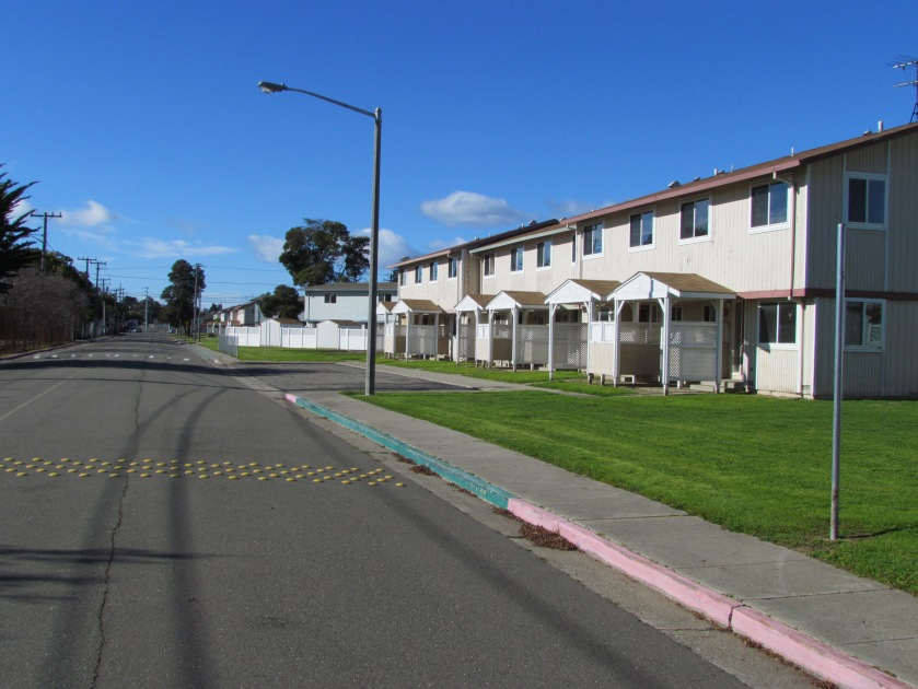 Singleton Avenue with vacant North Housing on the right. School parcel is on the left.