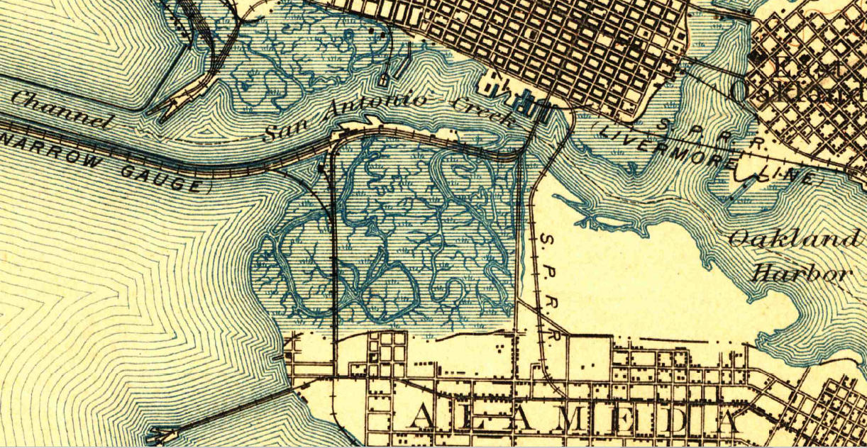 1899 topographical map of western Alameda showing marshland. Source: US Geological Survey Historical Topographic Map Explorer.