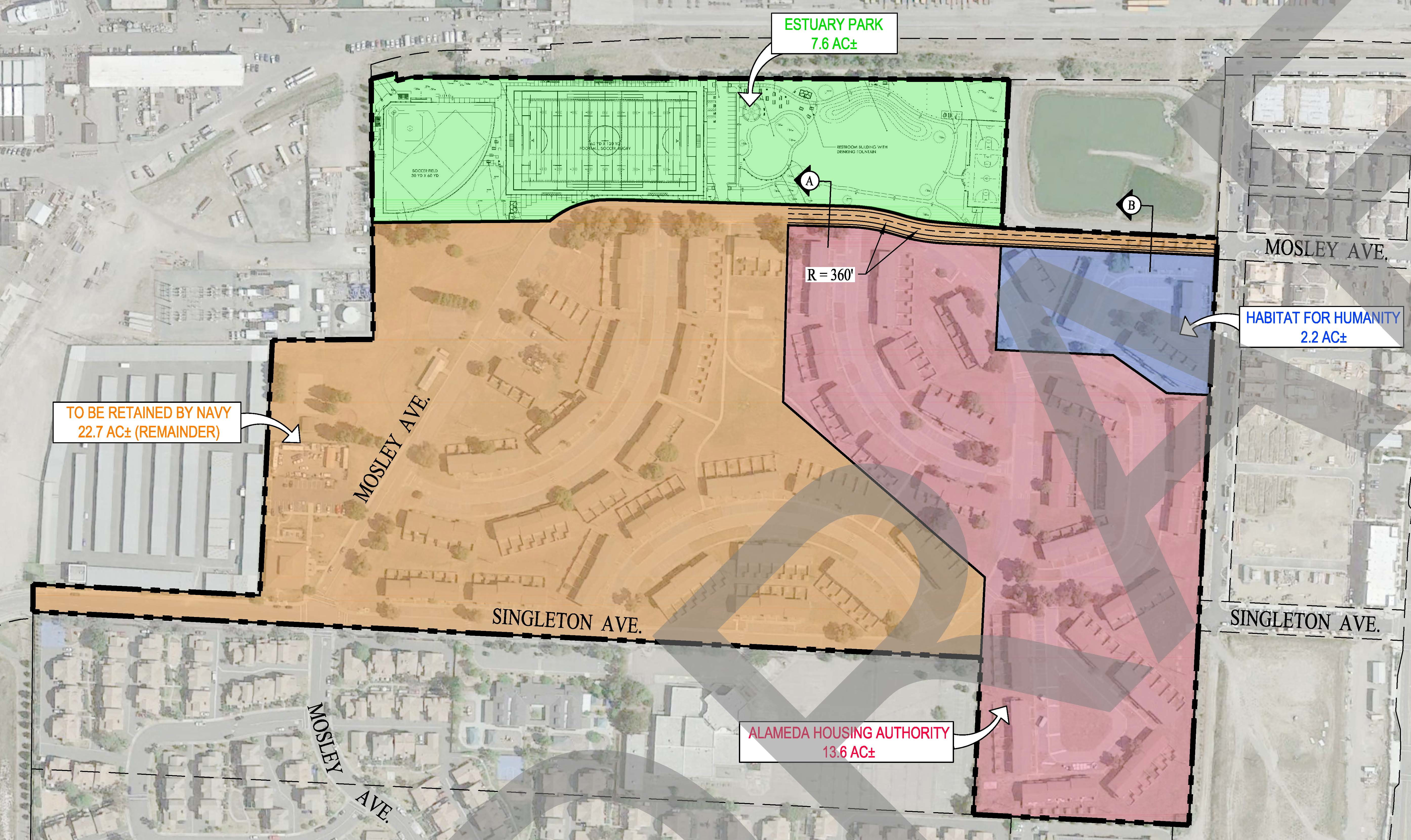 Draft map prepared by the city of Alameda showing proposed Housing Authority, Habitat for Humanity, and private developer parcels. Pending final approval. Dusty rose area going to Housing Authority, blue to Habitat for Humanity, tan to private developer. Click on map to enlarge.