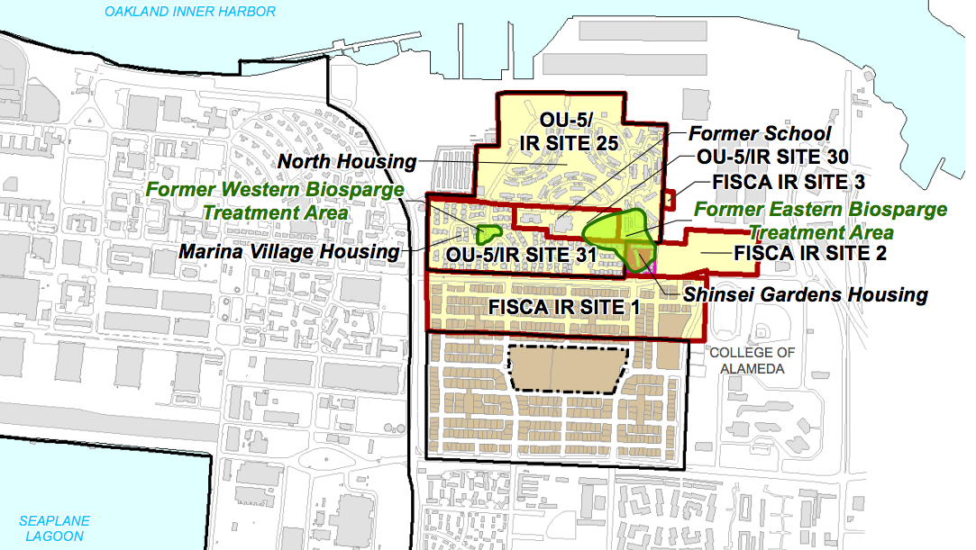Map showing two groundwater cleanup areas in OU-5.