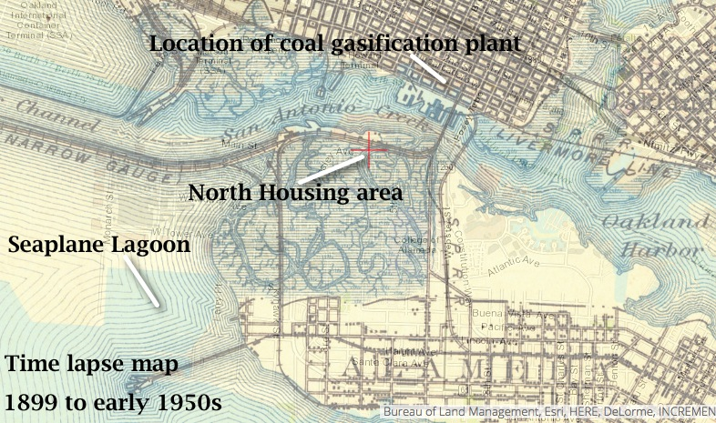 Time lapse map showing former marshland where North Housing is now located. Source: US Geological Survey Historical Topographic Map Explorer.