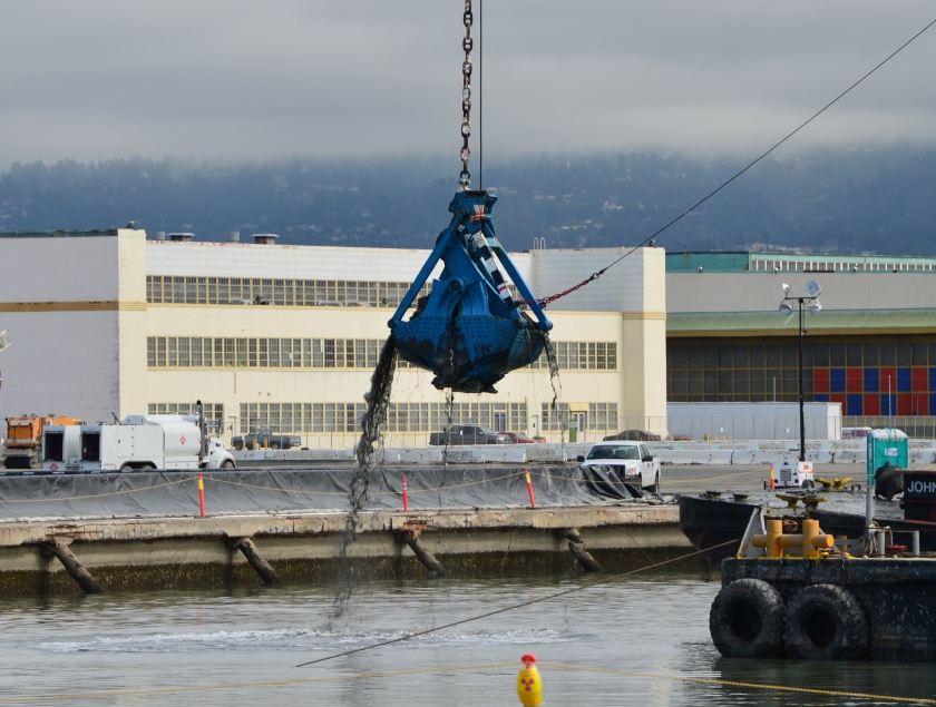 Dredging the northwest corner of the Seaplane Lagoon in February 2012.