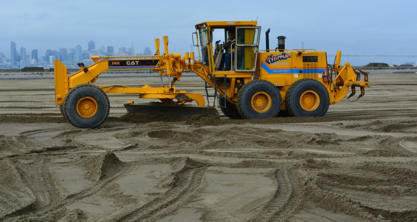 Grading the 3,000 tons of new sand on March 9, 2016, at Alameda Point least tern site.