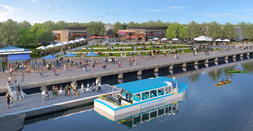 Proposed Fifth Street Plaza with water shuttle. Courtesy of Catellus.