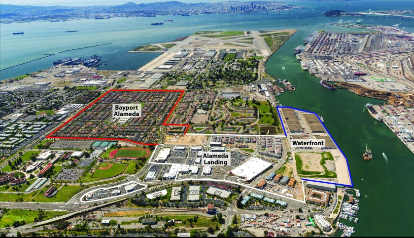 Outline of areas developed by Catellus - Bayport and Alameda Landing - with final waterfront phase. Alameda Point is in the background. Courtesy of Catellus.
