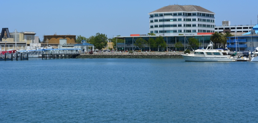 Jack London Square directly across the Estuary from proposed plaza and water shuttle launch at Alameda Landing.