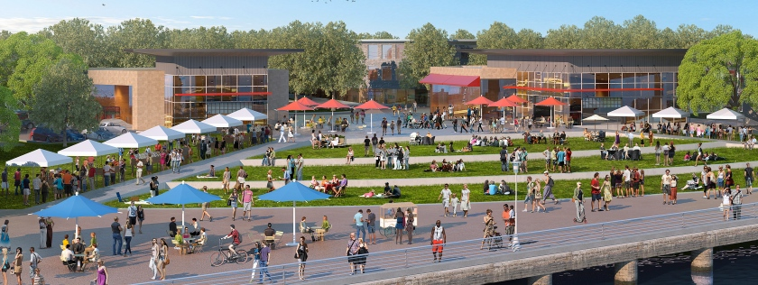Fifth Street Plaza proposal for Alameda Landing (close-up).