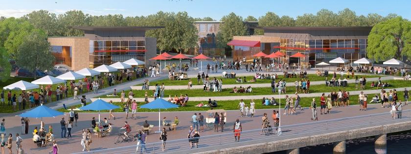 Fifth Street Plaza proposal for Alameda Landing (close-up).
