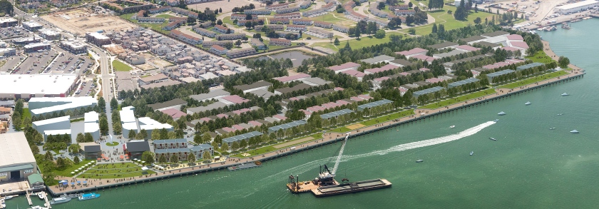 Aerial rendering of proposed plan for final phase of Alameda Landing. Existing Target store is at center left. Courtesy of Catellus.