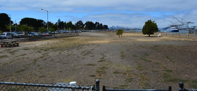 Dog park on Main Street next to ferry terminal parking lot. Looking west with San Francisco in background.
