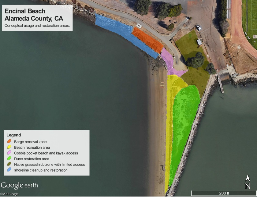 "Referred to as ""Encinal"" Beach on some maps, the beach will be officially named Breakwater Beach when work is completed."