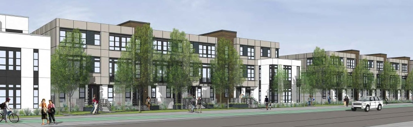 Artist's rendering of approved mixed-use buildings in transit-oriented development breaking ground at Alameda Point in Fall of 2016.