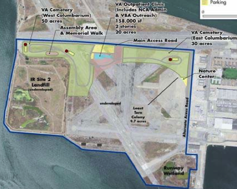New plan, without hospital, presented to Alameda City Council on September 1, 2010. This plan was also rejected by the U.S. Fish and Wildlife Service.